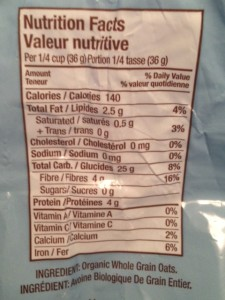 Nutrition Facts panel for Steel Cut Oats